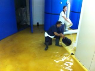 Der überflutete Heizraum im Sonnenhof, Sogar das Küchenpersonal ist im Einsatz