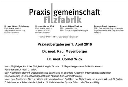 Praxisübergabe Dr. Meyenberger 20160401